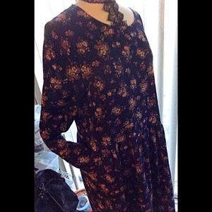 Cotton Floral Drop Waist Cuff Sleeve Dress Pockets